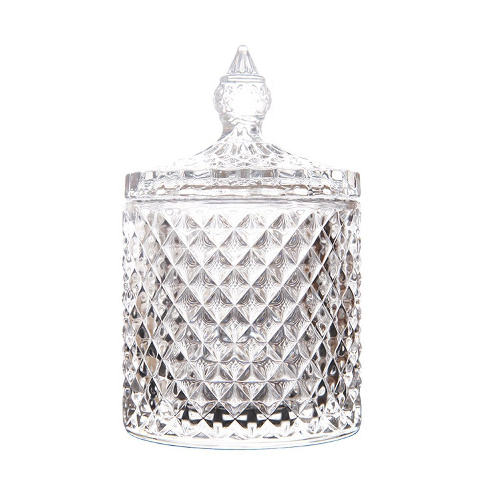 RockTrend Home Decorative Candy Jar Candy Dish Candy Buffet Storage Container Clear Crystal Diamond Faceted Jar with Crystal Lid-Large-16 OZ