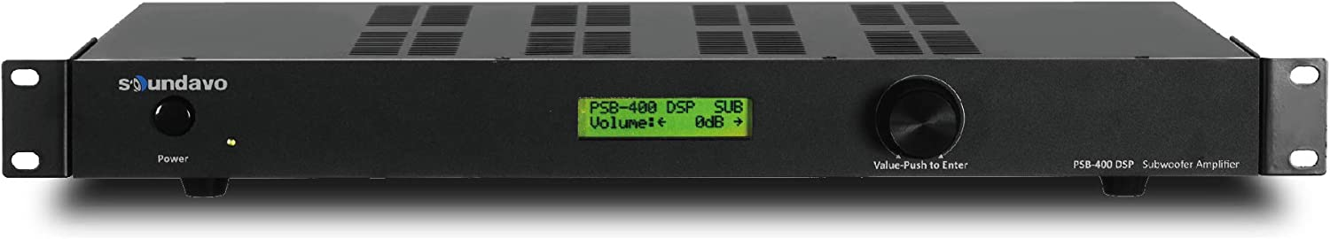 Soundavo PSB-400DSP Class D Subwoofer Amplifier with DSP and LCD Presets Display for Home Theater 400W RMS / 1000W Max