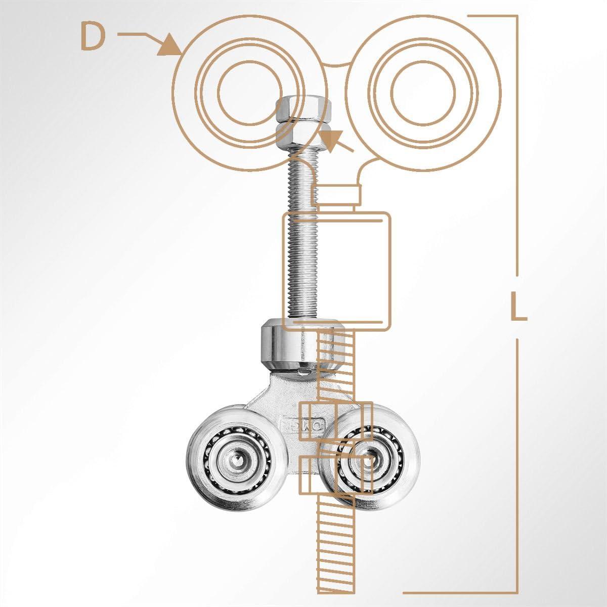 LYSEL 4-Fach Laufrolle F/ührungsrollen Laufwagen Rollenlaufwerk Drehbar 360/° Kugellager 200 Kg 1 St/ück