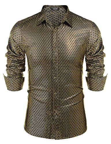 COOFANDY Men's Luxury Dress Shirt Long Sleeve Metallic Printed Casual Button Down Shirt 70s Party Prom Shirts -