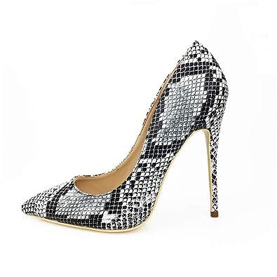 bfb5956e085 Miluoro Snake Printing Women High Heels Fashion Party Wedding Sexy Pumps  Shoes (6