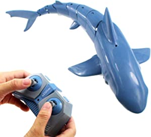 Tipmant 2.4G Radio Remote Control Shark RC Fish Boat Electric Large Size for Swimming Pool, Lake Kids Water Toys Gifts (Light Blue)