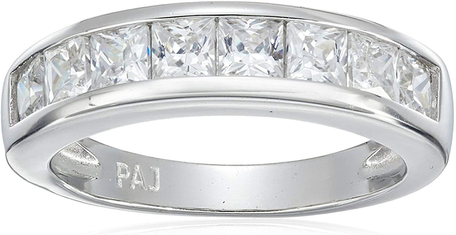 Platinum-Plated .925 Sterling Silver Princess-Cut Cubic Zirconia Classic Channel Set Anniversary Band Ring