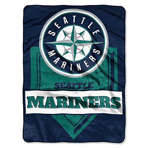 The Northwest Company MLB Seattle Mariners Royal Plush Raschel Throw, One Size, - Bedding Seattle Mariners
