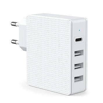 SCHITEC Cargador USB,4 Puertos 5V / 3A Cargador de Pared USB Tipo ...