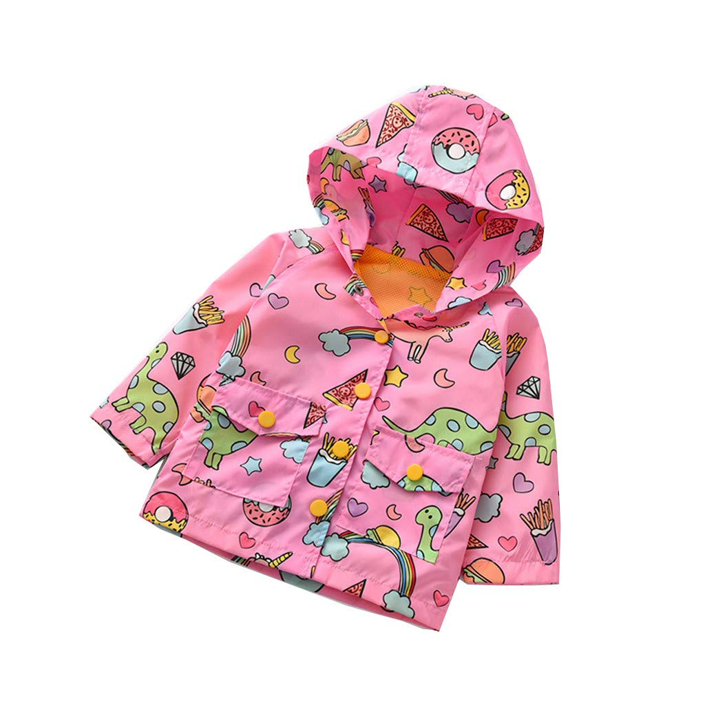 Toddler Kids Baby Children Boys Girls Windproof Coat Long Sleeves Cartoon Dinosaur Printed ZipperJacket