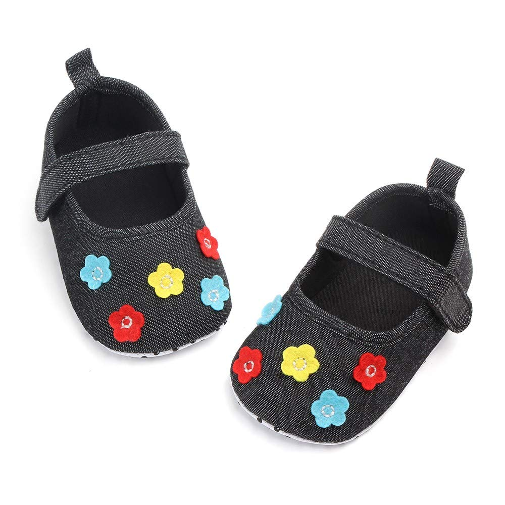 Lanhui Newborn Baby Girls Cute Canvas Flower Single First Walker Soft Sole Shoes
