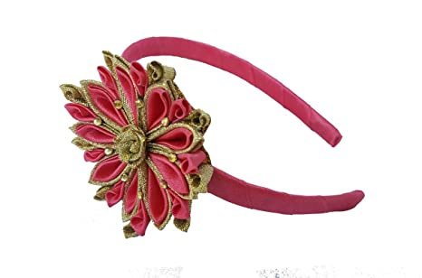 Buy Golden and Pink Hairband   Party wear Hairbands for girls   Fancy  hairband for women   Hair Accessories Online at Low Prices in India -  Amazon.in accb68544f6
