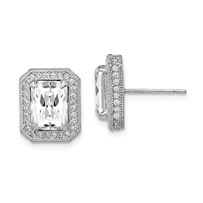 cb0d54d8b Image Unavailable. Image not available for. Color: 10k White Gold Cubic  Zirconia Cz Post Stud Earrings ...