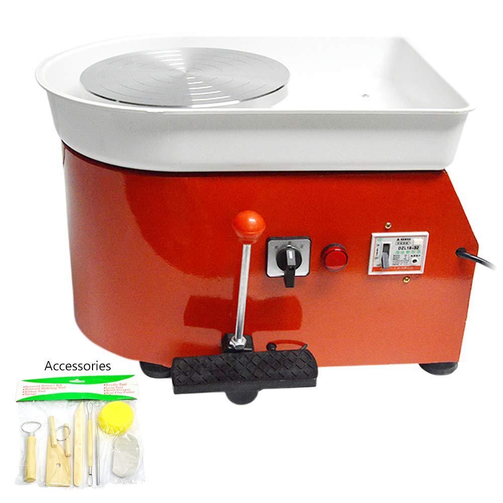 FLBETYY Pottery Wheel Forming Machine 25CM Electric Pottery Wheel DIY Machine for Ceramic Work Clay Art Craft 110V 350W (Orange)