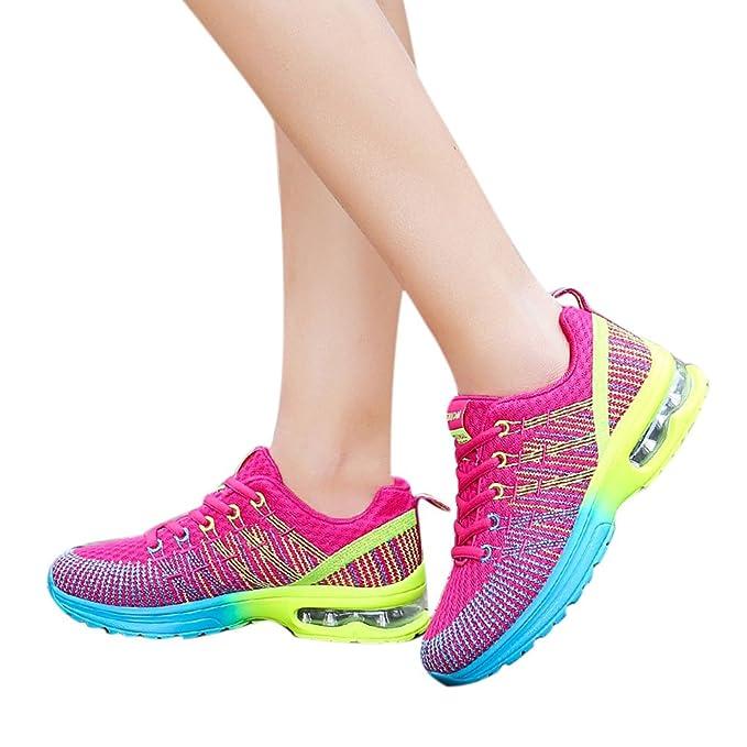 Zapatos Deporte De Running Para Hombre Mujer Con Plataforma De Cuña Air Tacón Zapatillas Ligeras Con Cordones Deportiva Outdoor Calzado Asfalto Sneakers: ...