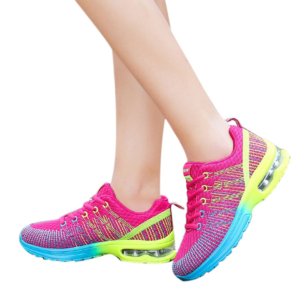 Men's & Women Lightweight Sneakers Breathable Outdoor Mesh Casual Athletic Sport Running Shoes (Hot Pink -Women2, US:8.0)