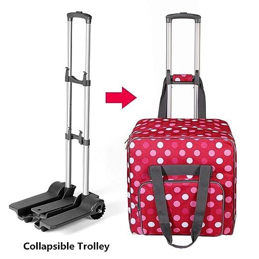 Carro de máquina de coser, carro rodante, carro de transporte plegable portátil para bolsa de almacenamiento de máquina de coser