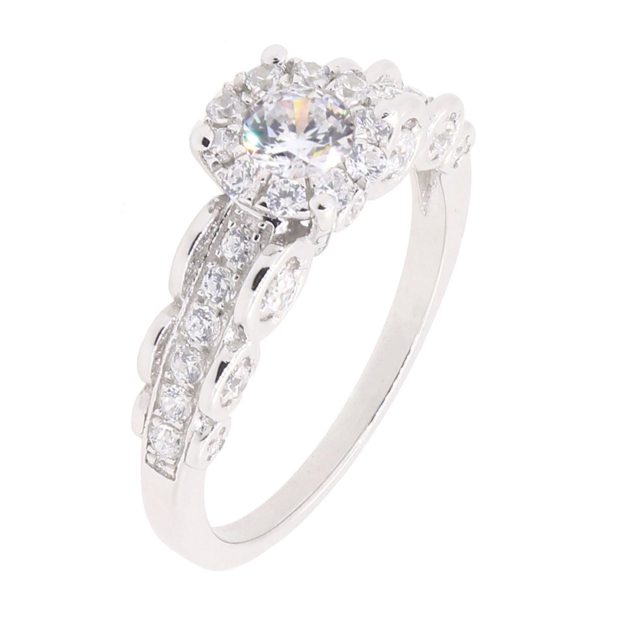 BL Jewelry Sterling Silver 2 Pieces Solitaire CZ Bridal Engagement Wedding Halo Ring Set 4//5 CT