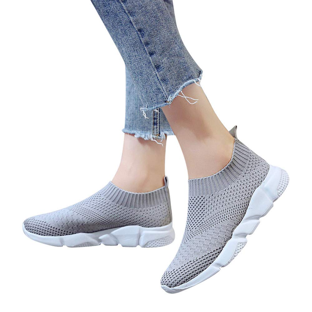 Women's Fashion Sneakers Breathable Mesh Casual Sport Shoes Comfortable Walking Shoes (Gray, US:8.5)
