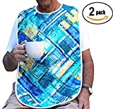 HEAD2TOE Artistic Design Adult Bib with Vinyl Backing and Snap Closure - 2 Pack