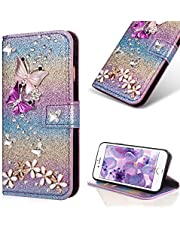 Bling Diamond Wallet Case for iPhone 5/5S/SE,Cistor Luxury Glitter 3D Handmade Butterfly Flowers Crystal Flip Cover Soft PU Leather Stand Feature Case with Card Slot Magnetic Closure,Rainbow#2