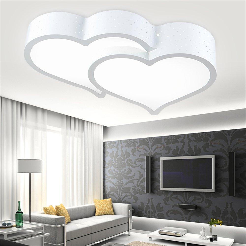 Malovecf LED-Deckenleuchte Eisen Eisen Eisen Doppel-Herz-Weiß Einfache Moderne Schlafzimmer Wohnzimmer Studie, 32W, [Energieklasse A++] (60cm) a4830b