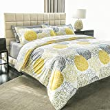 Ashler Printed Duvet Cover Set - Brushed Microfiber Luxury Comfortable Soft and Durable Hotel Quality - Wrinkle, Fade and Stain Resistant Yellow Grey Stripe Dot Queen