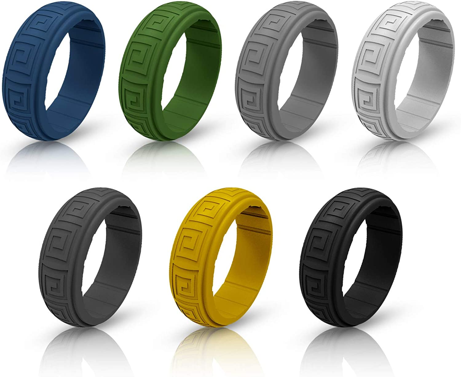 -10Pack 9 mm Wide Size 7 8 9 10 11 12 13 14 Ninge Silicone Rings,Silicone Wedding Ring Tire Tread Design Rubber Wedding Bands for Men