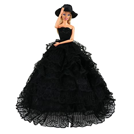 8f0e13c1c669 Miunana Abito Vestito Lungo Di Pizzo Con Cappello Per Bambola Barbie Dolls  - Nero