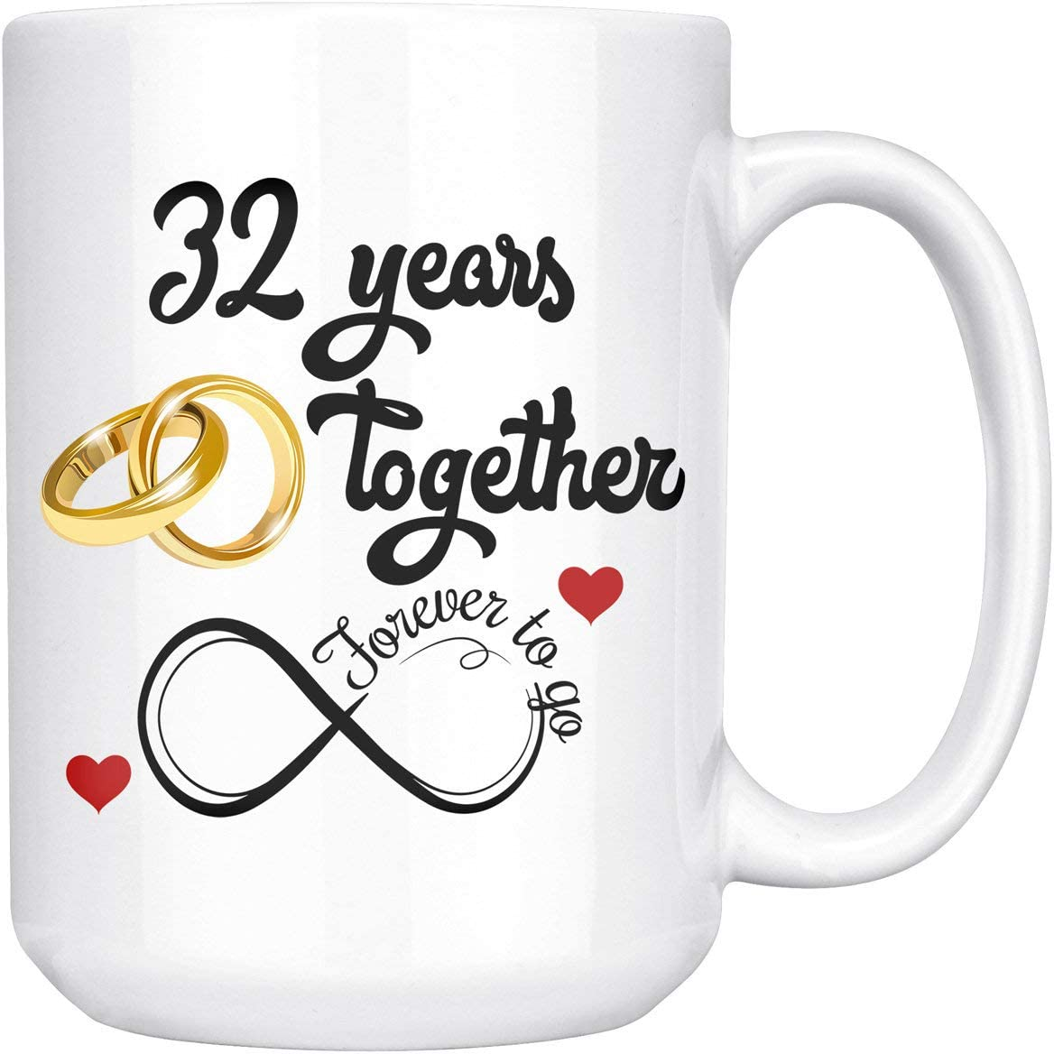 Amazon Com 32nd Wedding Anniversary For Him And Her 32nd Anniversarys For Her Him 32nd Anniversary Mug For Husband Wife 32 Years Together Married 32 Years 32 Years Couple 15 Oz Kitchen Dining