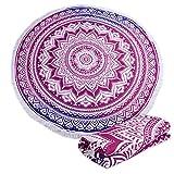 La Cozy Pink Pattern Large Round Beach Towel Blanket