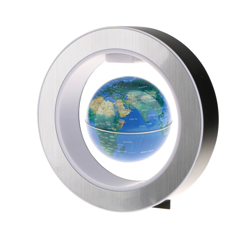 Perfk 家 オフィス デスクトップ 装飾品 4 インチ 円形フレーム 磁気 世界地図  浮動地球儀 LED ライト 全3種 青 B07BY92F44 青 青