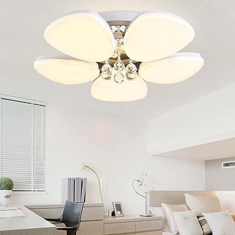 5 luces LED Cristal Luces de techo Redondo Flor y Hojas ...