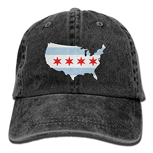 WE9SAW Chicago City Flag USA America Map Men Women Cotton Denim Fabric Sun Hat Adjustable Jeans Baseball Hat