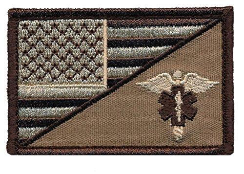 Patch Squad Men's USA Flag/ EMT Caduceus Morale Patch (Desert) (Paramedic Costume)
