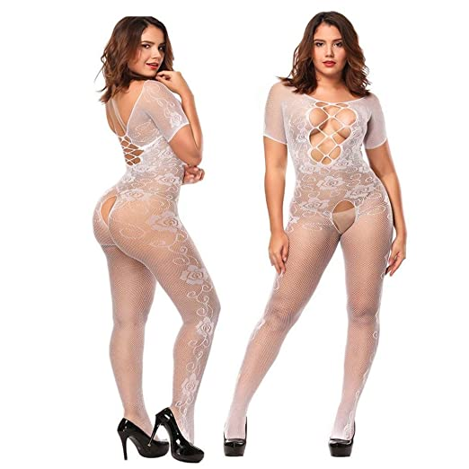 493abd458 Women s Lingerie Sexy Fishnet Bodystocking Lace Crotchless Strap Teddy  Babydoll Bodysuit