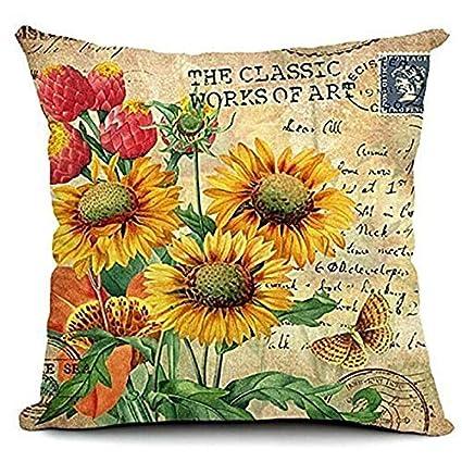 4539eb63 DAVITU US Warehouse - Linen Pillowcase Vintage European Forest Style Pattern  Cushion Case Home Decorative Pillow