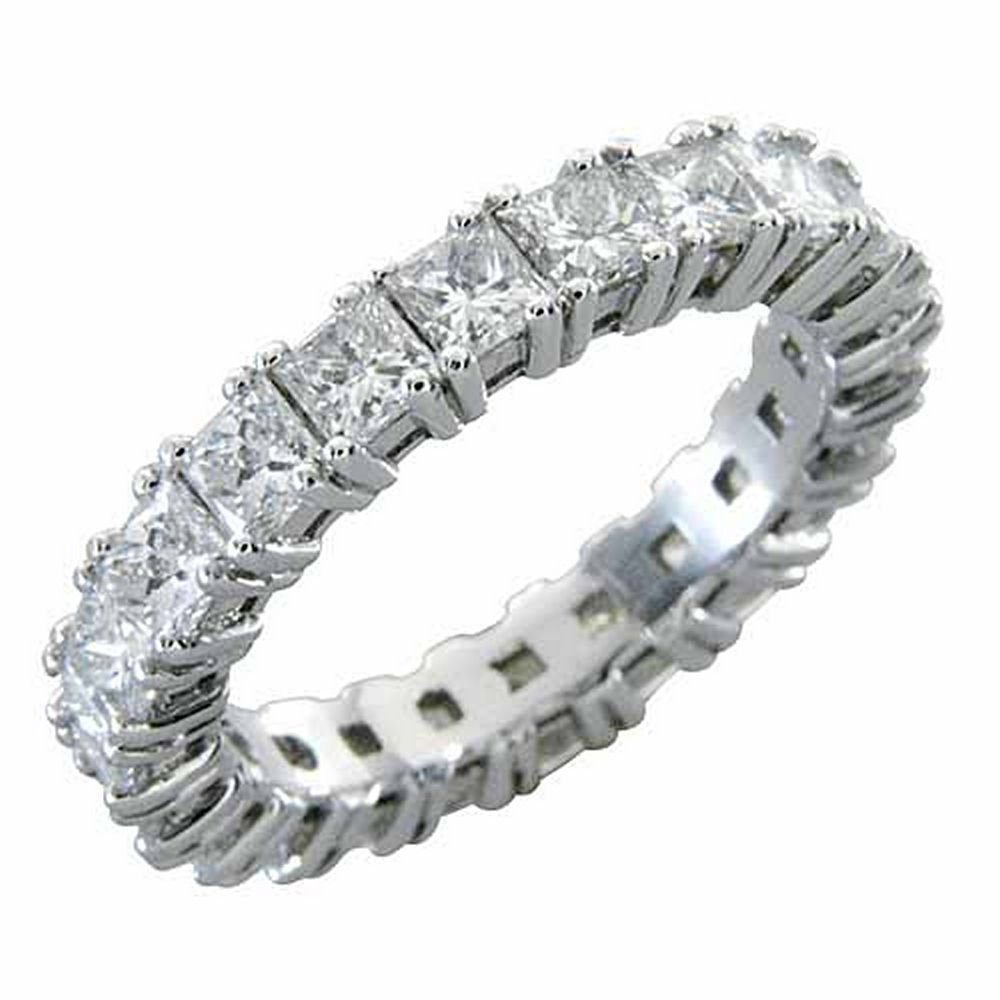 14k White Gold 4 Carats Princess Cut Square Diamond Eternity Band by TheJewelryMaster