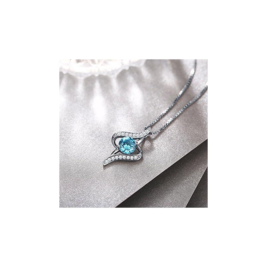 "J.Rosée Women 925 Sterling Silver Oval Cut Blue Cubic Zirconia 18"" Silver Chain Twist Pendant Necklace"