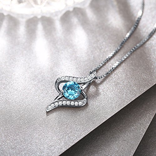 "J.Rosée Necklaces for Women, 925 Sterling Silver 3A Cubic Zirconia Pendant Necklace Fine Jewelry 18''+ 2"" Extender The Eye of Lover, Gift Packed"