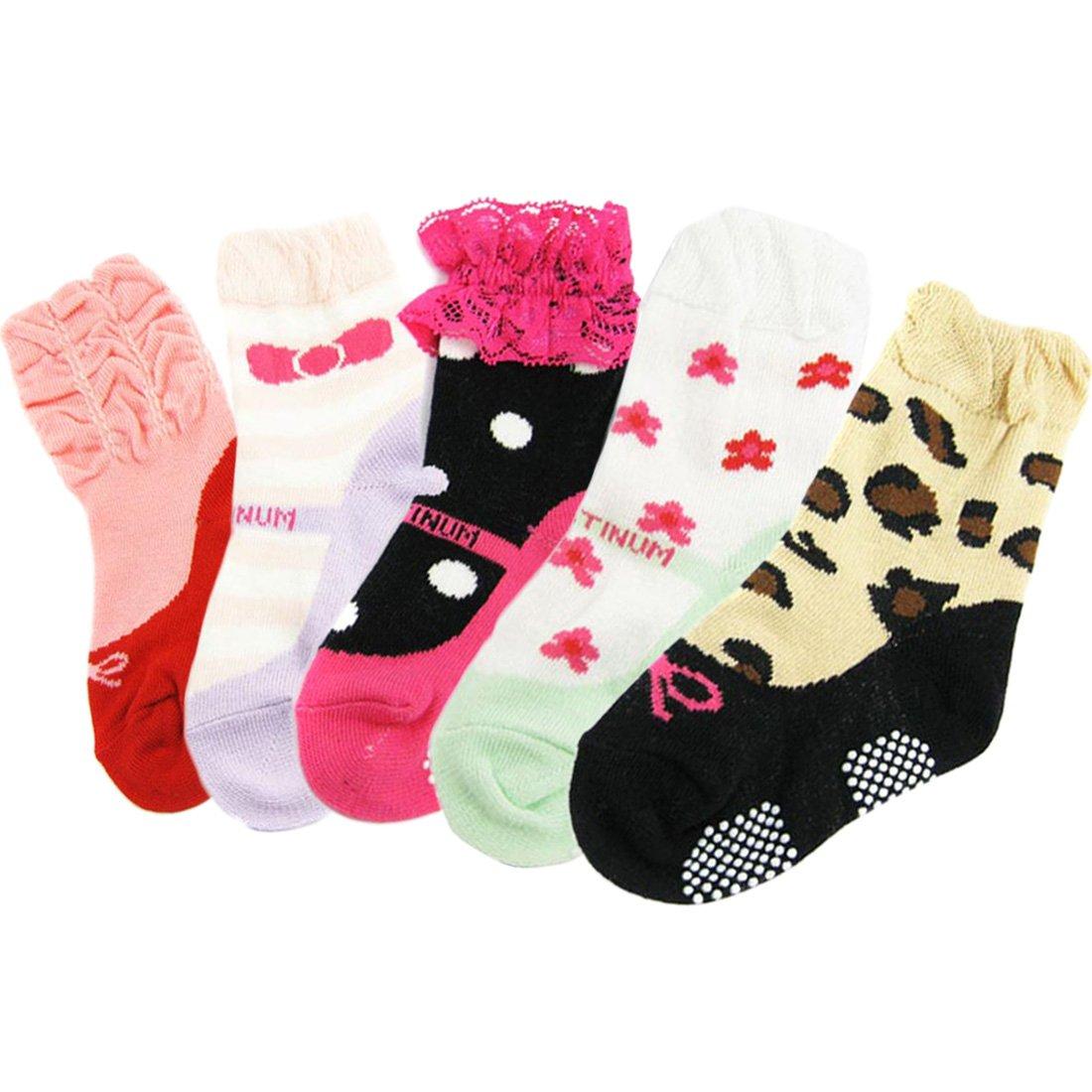 KF Baby Non-Skid Baby Girl Ruffle Lace Shoe Socks, 5 pairs (6 - 18 Months) kilofly