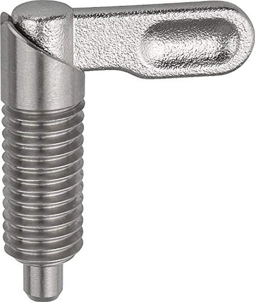KIPP 03099-10408A6 STAINLESS STEEL CAM ACTION INDEXING PLUNGER STYLE A INCH NATURAL FINISH 8 MM LOCKING PIN DIAMETER 5   8-11 THREAD