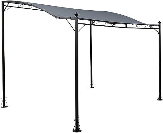Blumfeldt Allure Pérgola Marquesina sobre techo (carpa de 300x250cm, juego para terrazas, toldo de poliéster, estable, impermeable) - gris oscuro: Amazon.es: Jardín