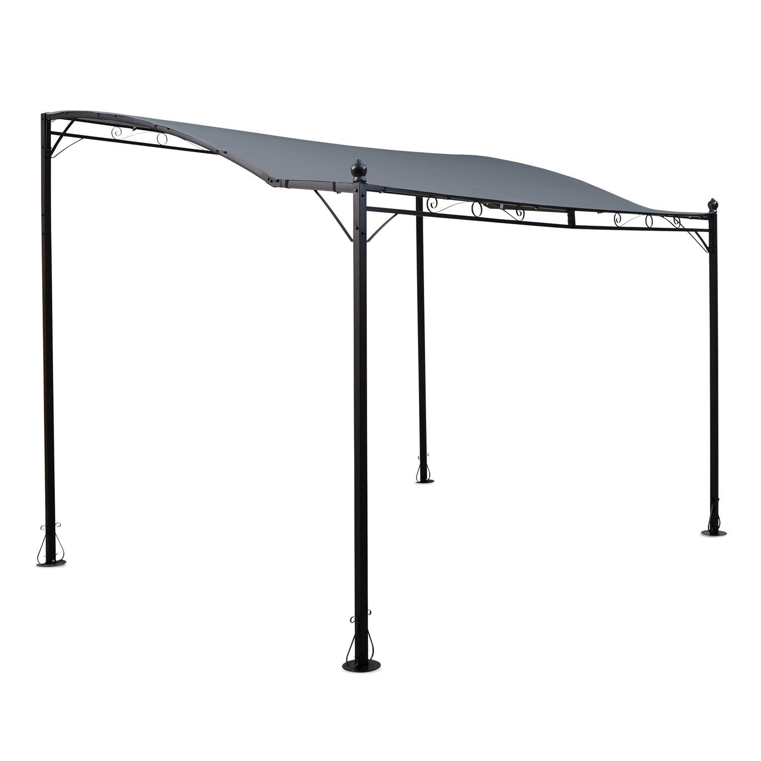 Blumfeldt Allure Pergola Canopy Pavillon (300x250cm, Water-Resistant Polyester Cover with PU Coating, Ideal as Terrace Roof or Canoply) Dark Grey