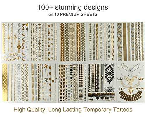 Classy Bohemian Temporary Metallic Tattoos for Body and Hair (10-Sheets)