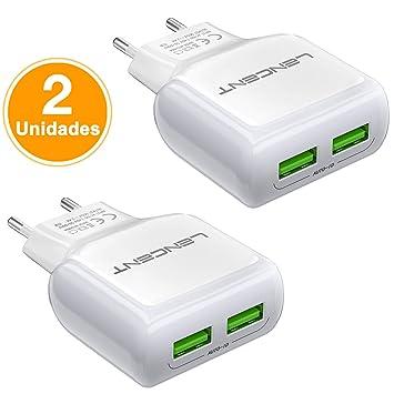 LENCENT Cargador USB Pared con 2 Puerto[2 Unidades], 12W/2.4A Cargador Móvil con tecnología Auto-ID, Enchufe Multipuerto Europeo para iPhone, iPad, ...