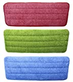 Shapenty 3 Colors Flat Microfiber Spray Mop Pads Refills Replacement Washable Dust Mops for Wet Dry Hardwood Floor Cleaning, 3 Pack