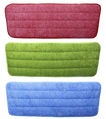 Shapenty 3 Colors Flat Microfiber Spray Mop Pads Refills Replacement Washable Dust Mops for Wet Dry Hardwood Floor Cleaning, 3 Pack by Shapenty (Image #3)