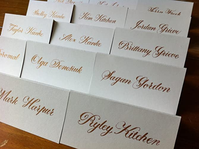 Wedding Name Cards.Amazon Com Wedding Name Place Cards Ivory Cards With Gold