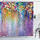 Ambesonne Flower Shower Curtain, Abstract Herbs Weeds Alternative Medicine Blossoms Ivy Back Florets Shrubs Design, Cloth Fabric Bathroom Decor Set with Hooks, 70' Long, Blue Purple
