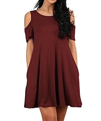 fb21b9fe1eb GABREBI Women s Sexy Casual T-Shirt Drsses Cold Shoulder Tunic Plus Size  Top Swing Dress