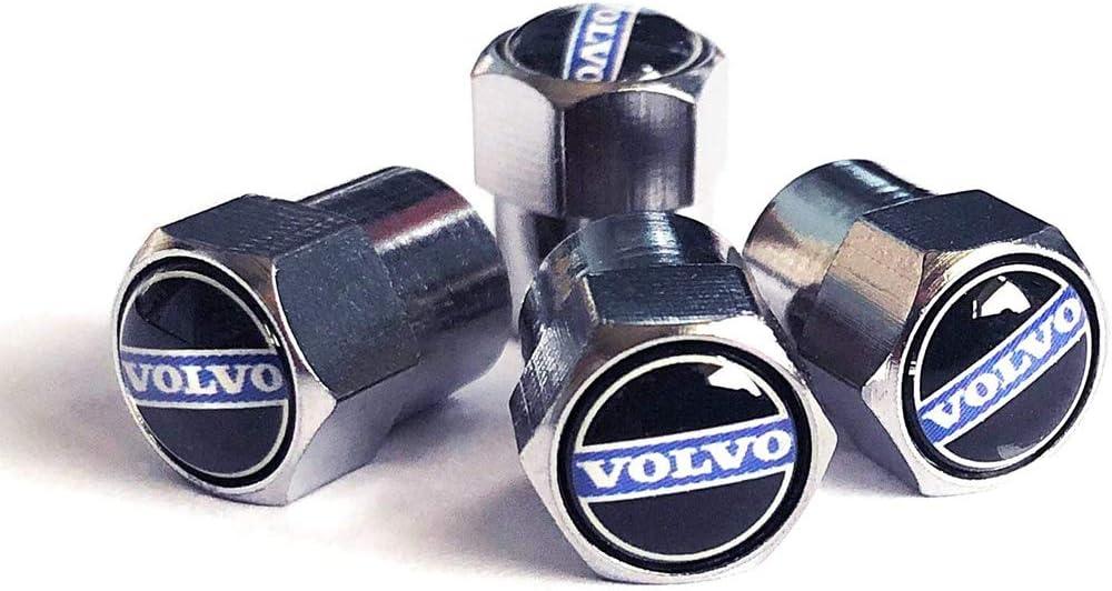 TDPQR 4Pcs Car Valvola della Gomma della Valvola del Pneumatico dell ugello Tappi,per Volvo Logo Coprivalvola Antipolvere Accessori Auto Decorazione