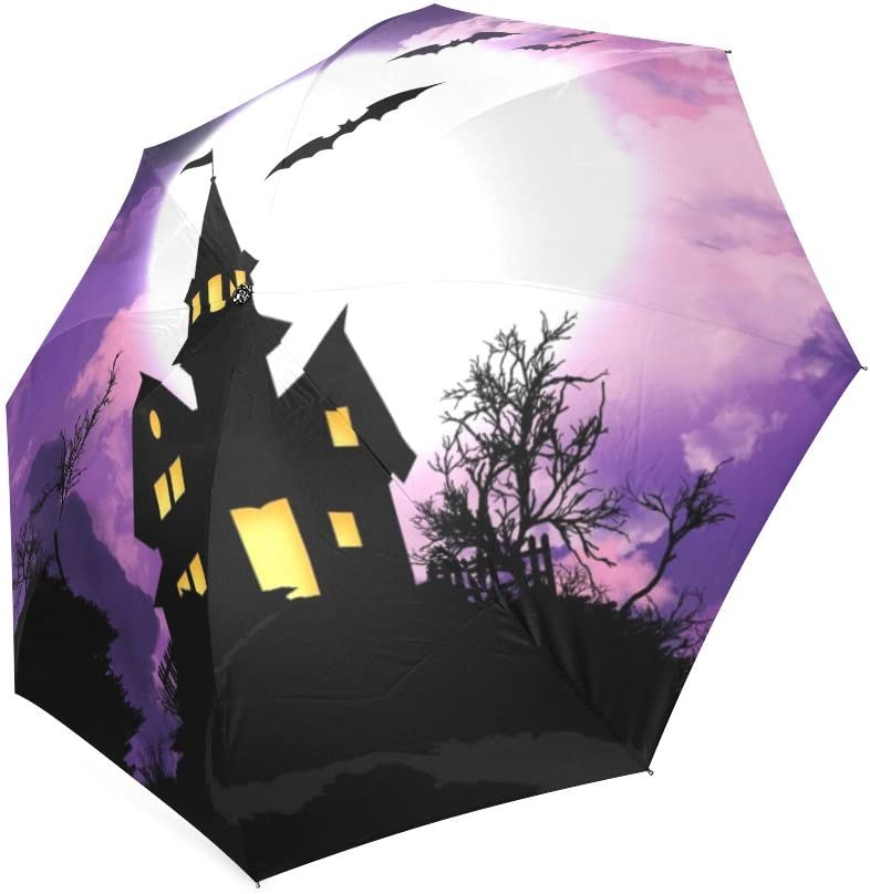 Kitchor Costum Bats Above Haunted Castle All Weather Umbrella Custom Umbrella