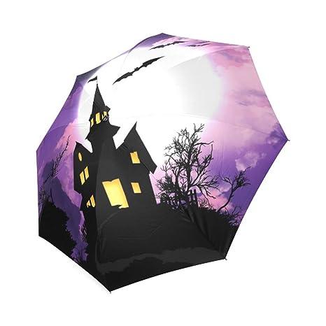 kitchor Costum murciélagos sobre encantada castillo todo tipo de clima paraguas personalizado paraguas